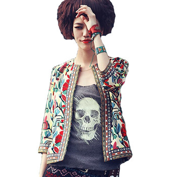 Novo 2016 Moda Mulheres Casaco Básico Jaqueta Senhoras Estilo Étnico Impressão Do Bordado Do Vintage 3/4 Manga Jaquetas Curtas Magros 03B 25