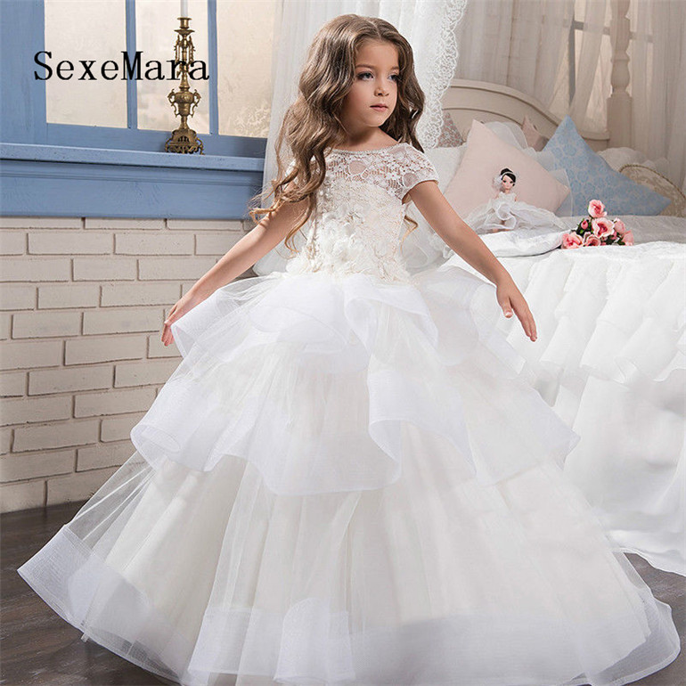 Flower Girl Dress for Wedding Party Short Sleeve O Neck Puffy Organza White Lace Kids Birthday Party Dress Communion GownFlower Girl Dress for Wedding Party Short Sleeve O Neck Puffy Organza White Lace Kids Birthday Party Dress Communion Gown