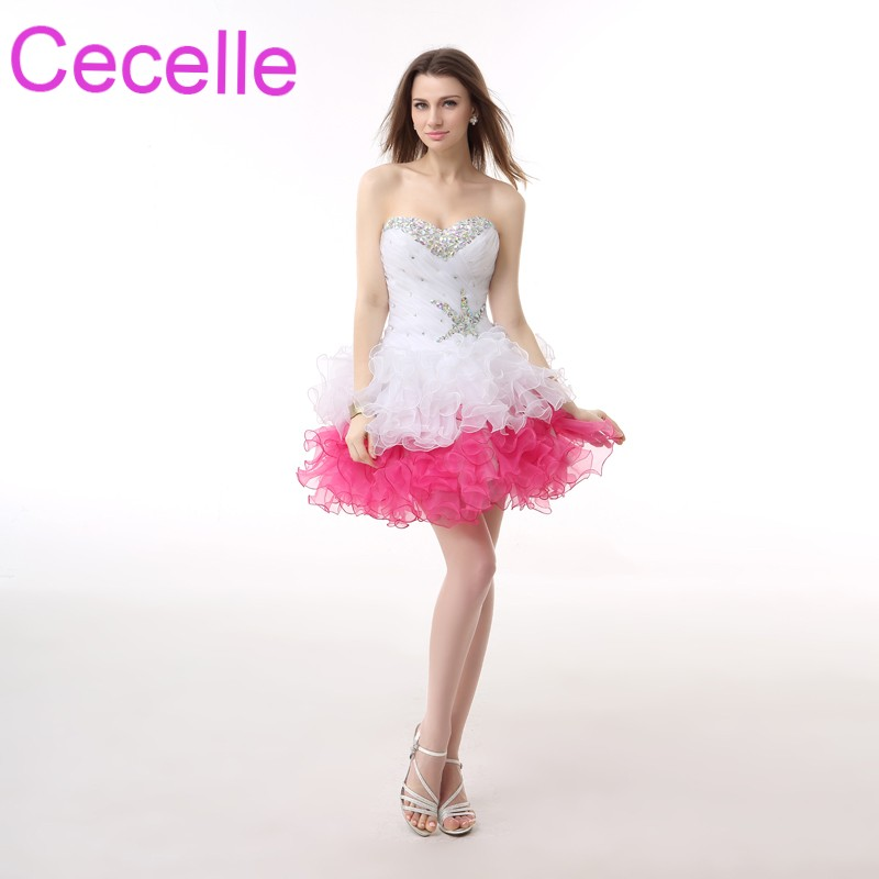 White Short   Cocktail     Dresses   2019 Sweetheart Beaded Crystals Tiered Skirt Girls Semi Formal   Cocktail   Party   Dress   With Corset