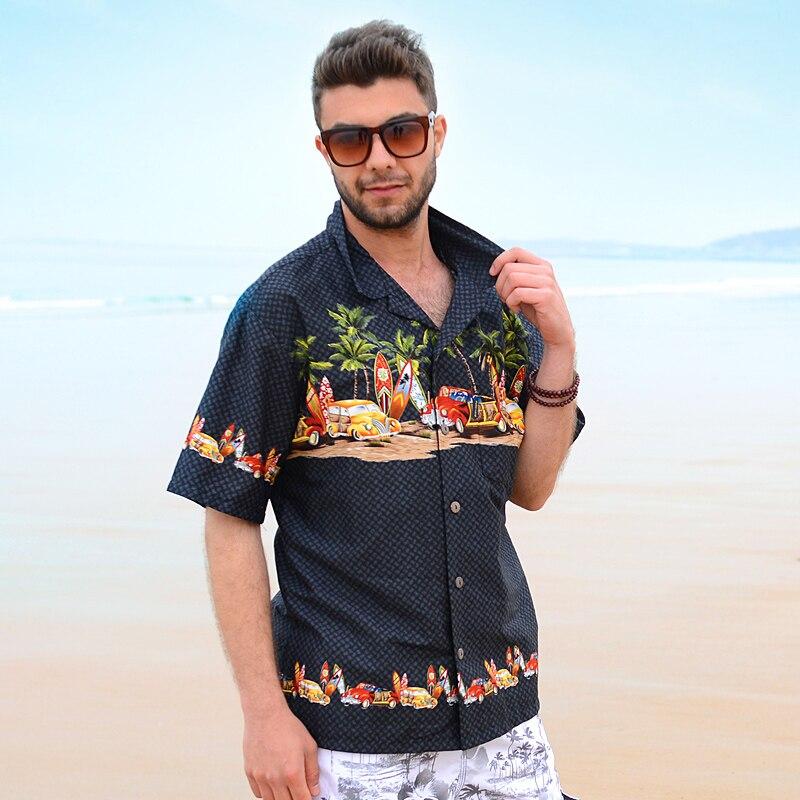 브랜드 남성 하와이 셔츠 야자수 서핑 보드 만화 자동차 멋진 드레스 셔츠 남성용 면화 대형 카미 사 파라 Hombre Uomo