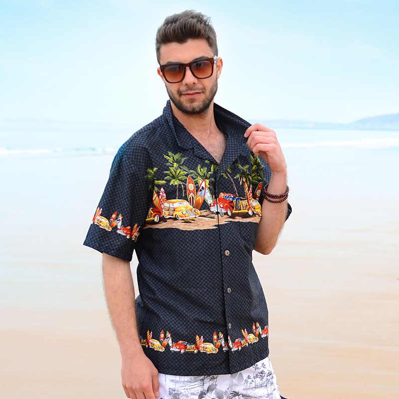 fb8dac03362 Brand Men s Hawaiian Shirt Palm Tree Surfboard Cartoon Car Fancy Dress  Shirts For Men Cotton Large