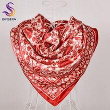 [BYSIFA] женский шарф хиджаб часы цепь дизайн красный Шелковый квадратный шарф, платок Cachecol Дамский головной шарф шейный шарф накидка платок