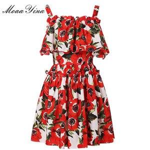 Image 2 - MoaaYina, moda de diseñador, vestido de algodón de pasarela, vestido de verano para mujer, tirantes finos, volantes, estampado Floral, vacaciones, Mini vestido