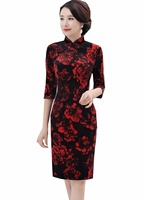 Shanghai Story Red Floral Black Velvet Qipao Chinese Traditional Dress 3 4 Sleeve Cheongsam Dress Knee