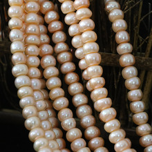 Fashion natural cultured freshwater pearl orange abacus loose beads 9-10mm beauty gift diy High grade jewelry 15inch B1388