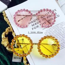 Korea Design Fashion Sunglasses Women Small round Sunglasses  Luxury Rhinestone Pink Mirror Sun Glasses Female Lady UV400
