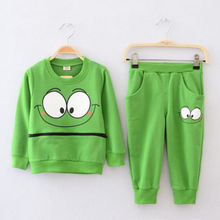 Free shipping Baby Boys Girls Kid SportsWear Tracksuit Outfit Smiling Face Unisex Suit Autumn