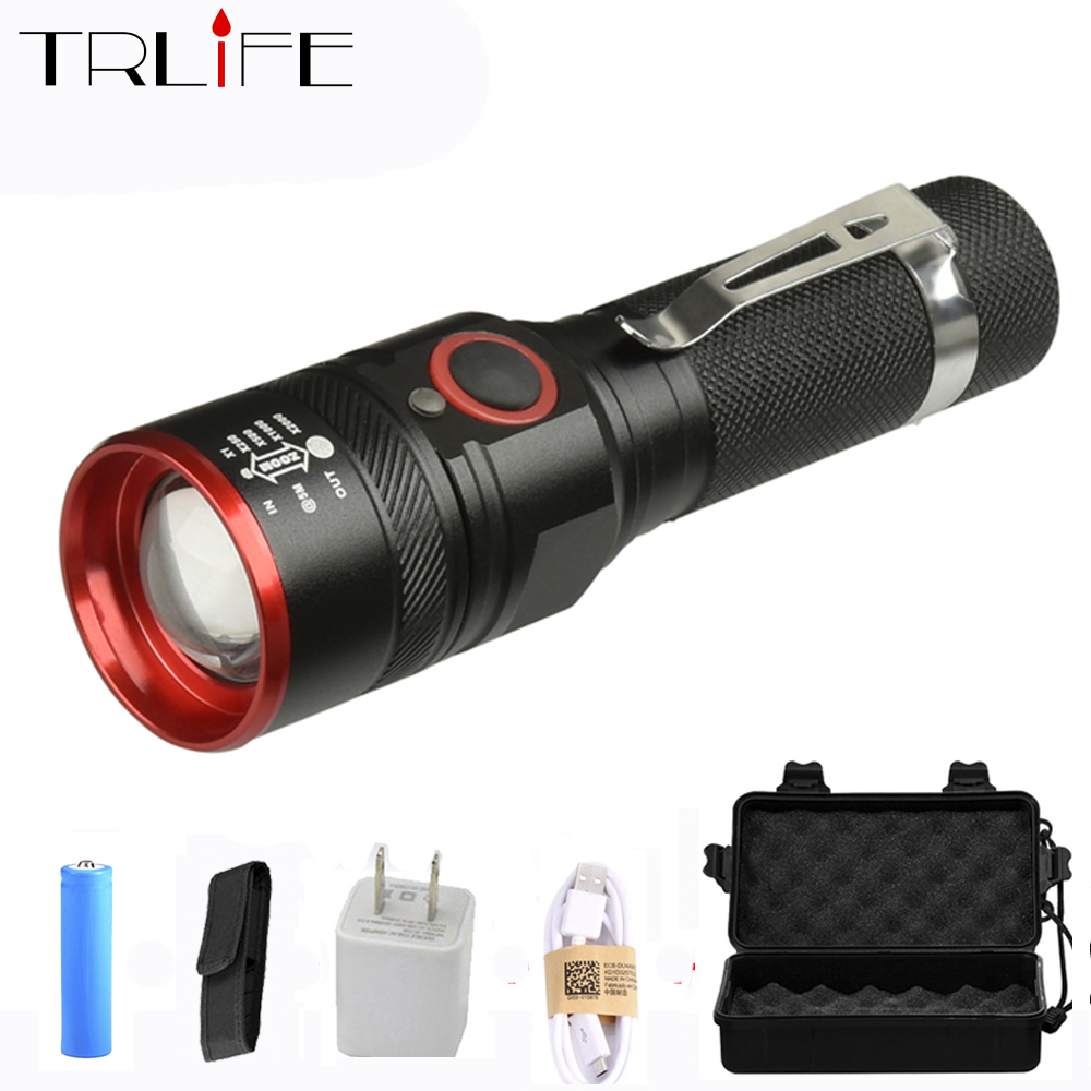USB Rechargeable 8000 Lumen Flashlights T6 Lamp Beads Led Flashlight Zoomable 3 Modes LED Torch for 18650 with USB Cable Camping ultrafire m3 t60 3 mode 910 lumen white led flashlight with strap black 1 x 18650