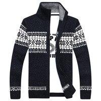 2018 סתיו והחורף חדש דפוס פתית שלג סוודר של גברים מזדמן קרדיגן מעיל צמר עיבוי