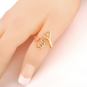 2017 New Fashion Women Girl Cute Simple Metal Love Heart Cat Dog Foot Open Adjustable Rings Animal Style Hollow Paw Ring Jewelry 1