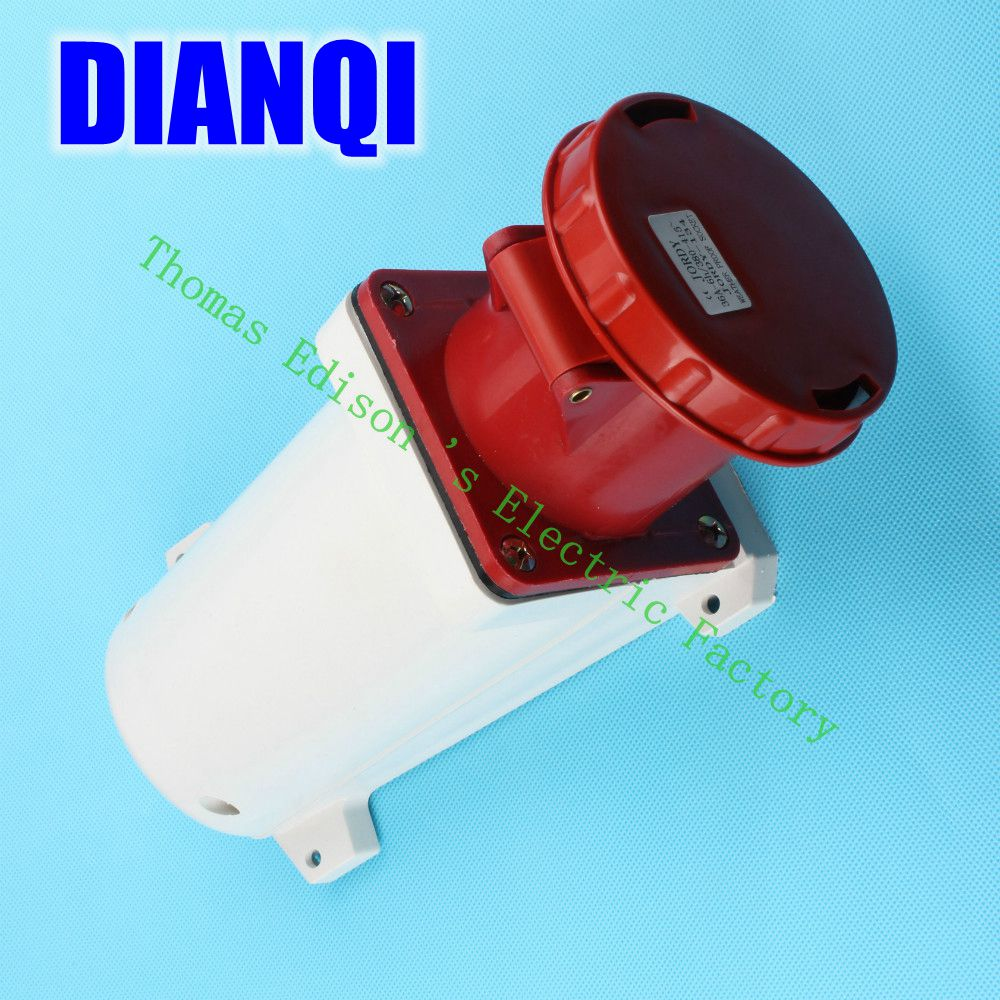 Industrial Socket Plug Coupler 134 CNQD-134 Red 63A 220V~415V 3P+E 4pin 10PCS/carton high quality ac 360 415v 16a ie 0140 4p e free hanging industrial plug red white