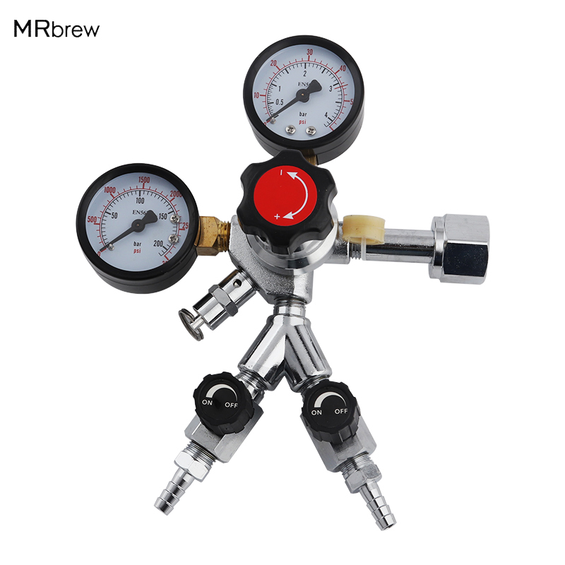 CGA320 CO2 Dual Gauge Regulator CO2 Pressure Reducerfor Home Beer Brew Brewing Kegerator
