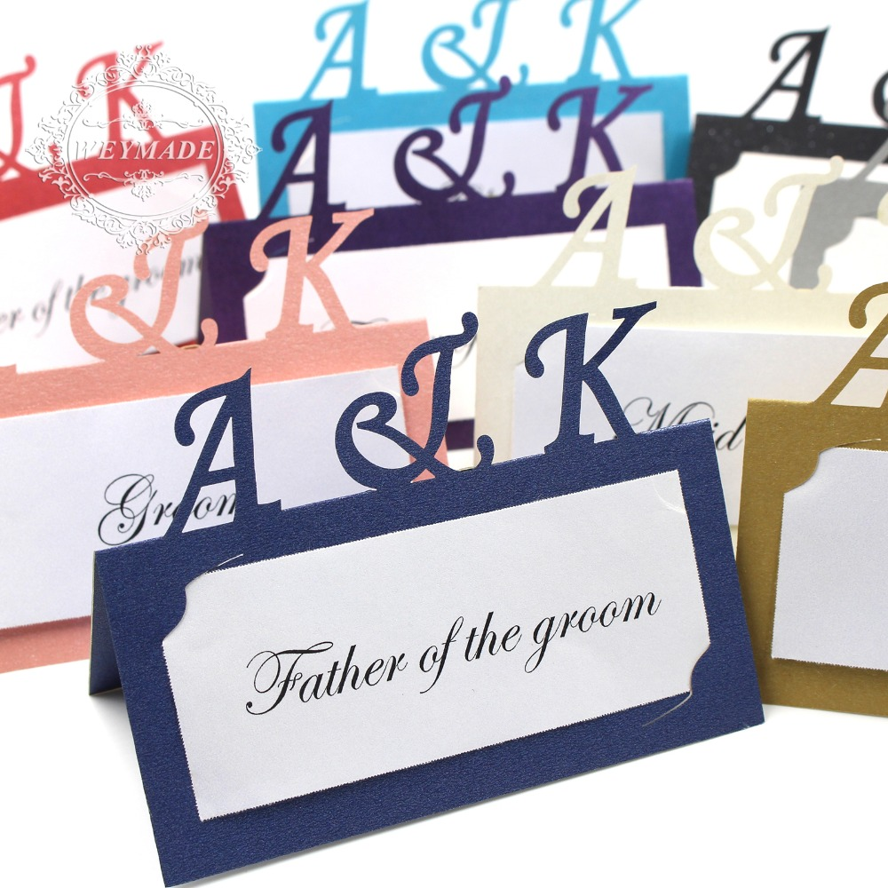 Us 21 99 60 Personalized Anniversary Free Print Laser Cut Place Name Cards Customized Name Place Cards For Wedding Engagemen In Cards