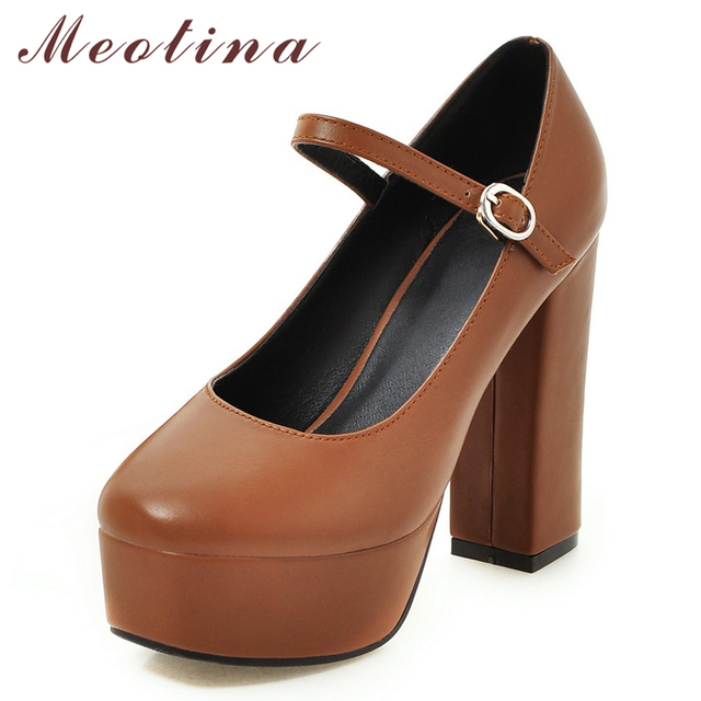 24f369d9cf2bbb Meotina Super High Heels Shoes Women Platform Thick Heels Mary Janes Shoes  Buckle Square Toe Office Lady Pumps Beige Brown 34-39