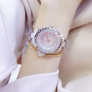 Image 3 - Женские кварцевые часы BS, модные роскошные женские наручные часы с кристаллами и стразами, золотые часы браслет