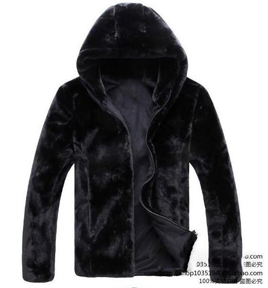 Black hooded warm Faux mink fur coat mens leather jacket men jaqueta de couro overcoat Villus autumn winter thermal outerwear