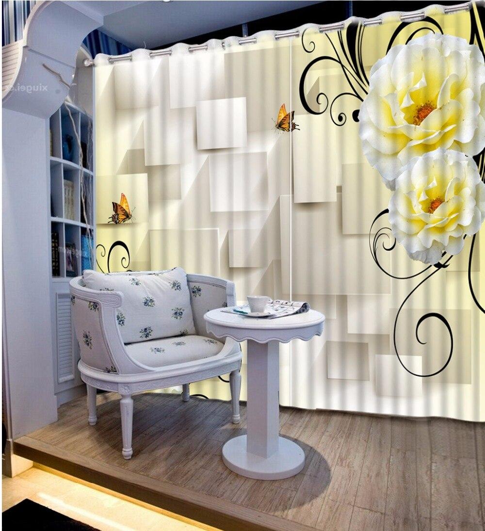Rideaux occultants rideaux d'impression 3D pour salon chambre Pulple fleur Design hôtel maison rideaux crochets rideaux personnalisés