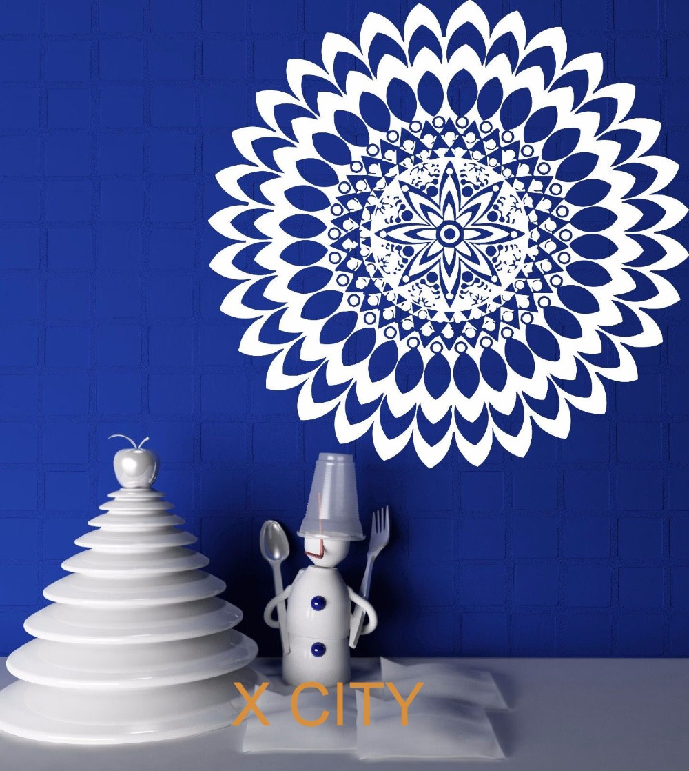 mandala circle meditation floral pattern wall art decal sticker vinyl cut transfer home room. Black Bedroom Furniture Sets. Home Design Ideas
