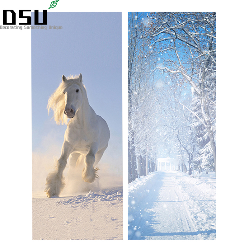 DIY 3D Door Stickers Snow Scenery White Horse Pattern Wallpapers PVC Waterproof Doors Poster for Bedroom Home Decor 200*77cm