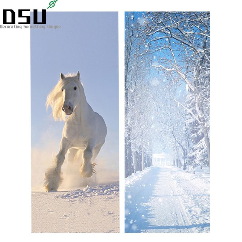 DIY 3D puerta pegatinas nieve paisaje patrón Caballo Blanco Wallpapers PVC impermeable puertas cartel para la decoración casera del dormitorio 200*77 cm