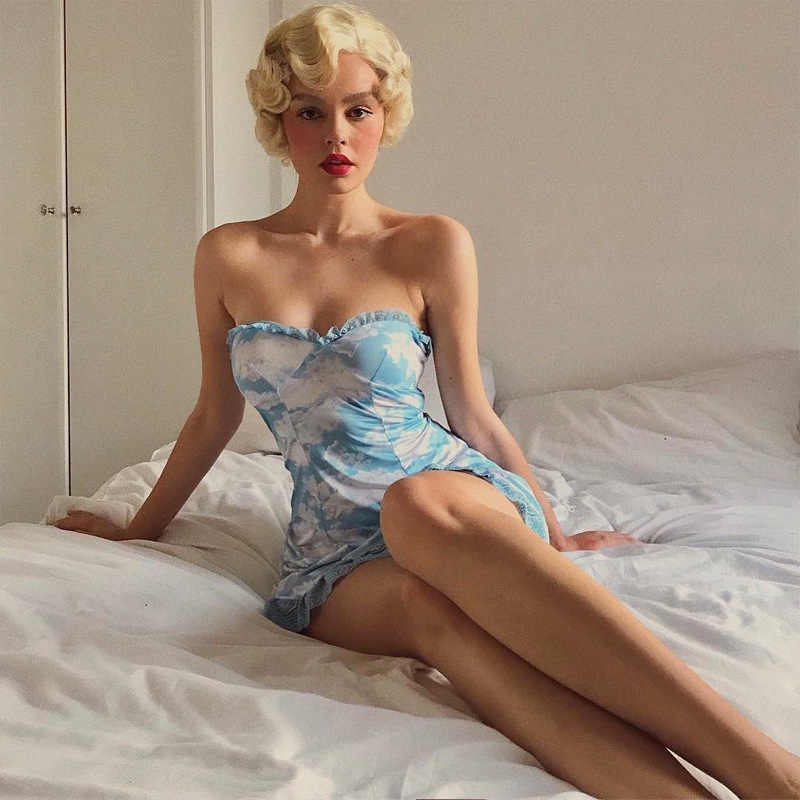 BOOFEENAA Phối Ren Viền Ren Xù Xanh Da Trời In Sexy Mùa Hè 2019 Kawaii Lolita Sundresses Nữ Áo Dây Soleil C70-AB27