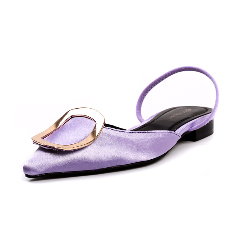 2018 Femmes blanc Nouvelles lavande Métal Mode D'été Sport Simple Retour Pointu En De Noir Sling Boucle Chaussures Plat rrBT5RWwxq
