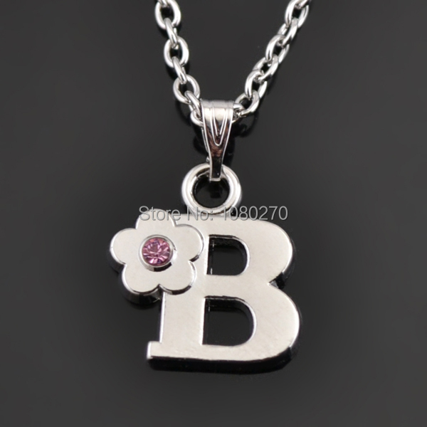 Minimal New Design Zinc Alloy Letter B Crystal Flower Pink Spot Drill With  Cross Chain Pendant