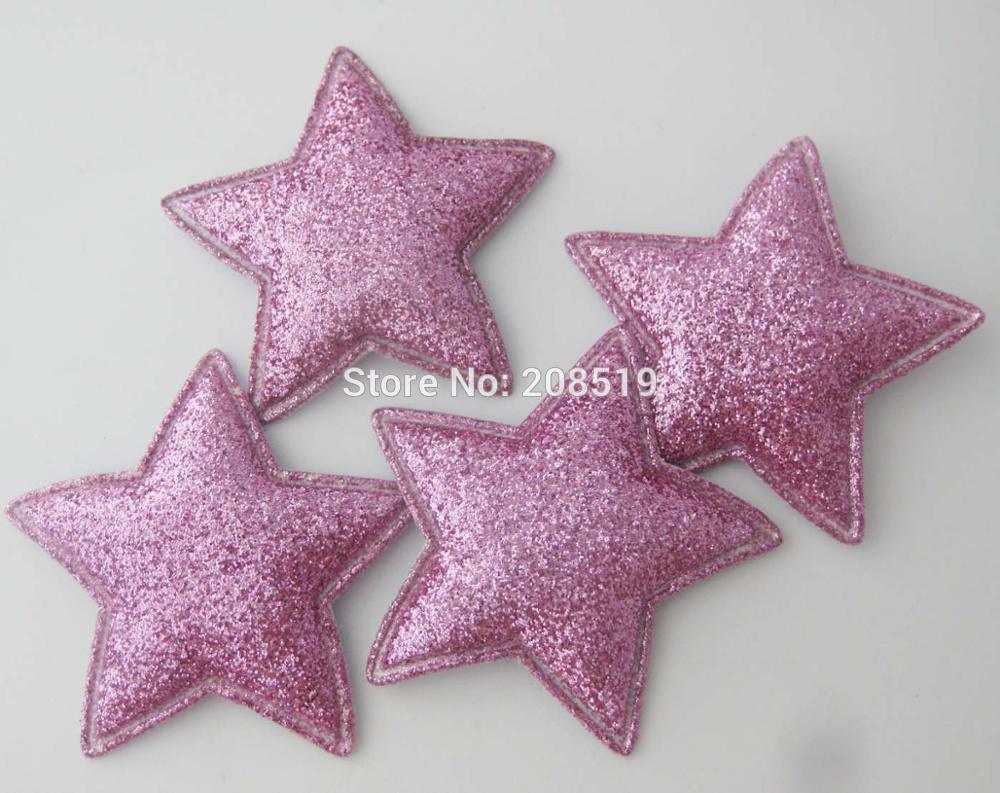 PANNGW микс 80 шт Блестящий фетровый тканевый аппликации около 45 мм звезда патч ручной работы декоративная заплатка для ювелирных изделий для волос - Цвет: only puple color T