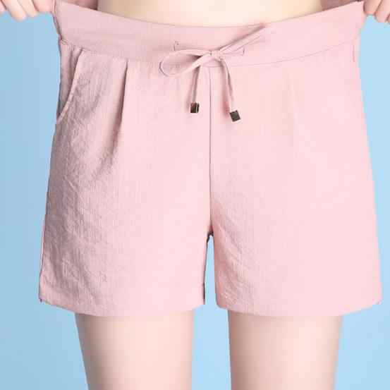 4XL Plus Size Womens Shorts Summer 2019 Fashion Loose Elastic Waist Cotton Linen Short Trousers Femme With Pocket AE111