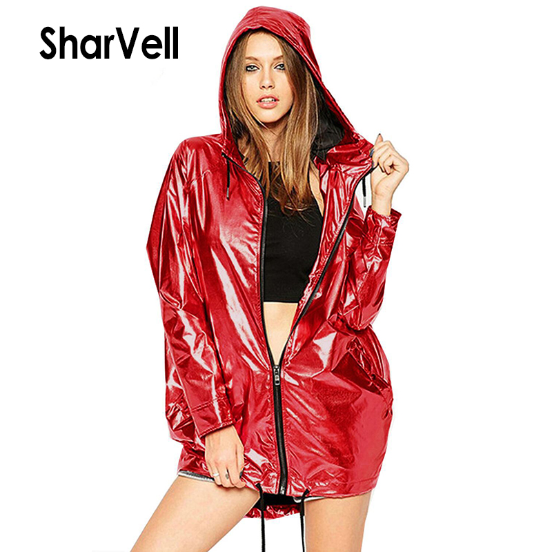 SharVell Women Spring Jacket Adjustable Lace Up Hooded Shiny Fashion Basic Jackets Zipper Casual loose Hoody Coat Bomb Outwear