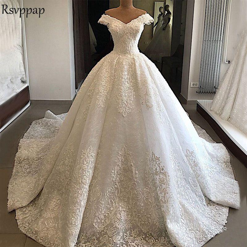 2019 Wedding Ball Gowns: Long Sleeve Ball Gown Wedding Dress 2019 V Neck Cap Sleeve