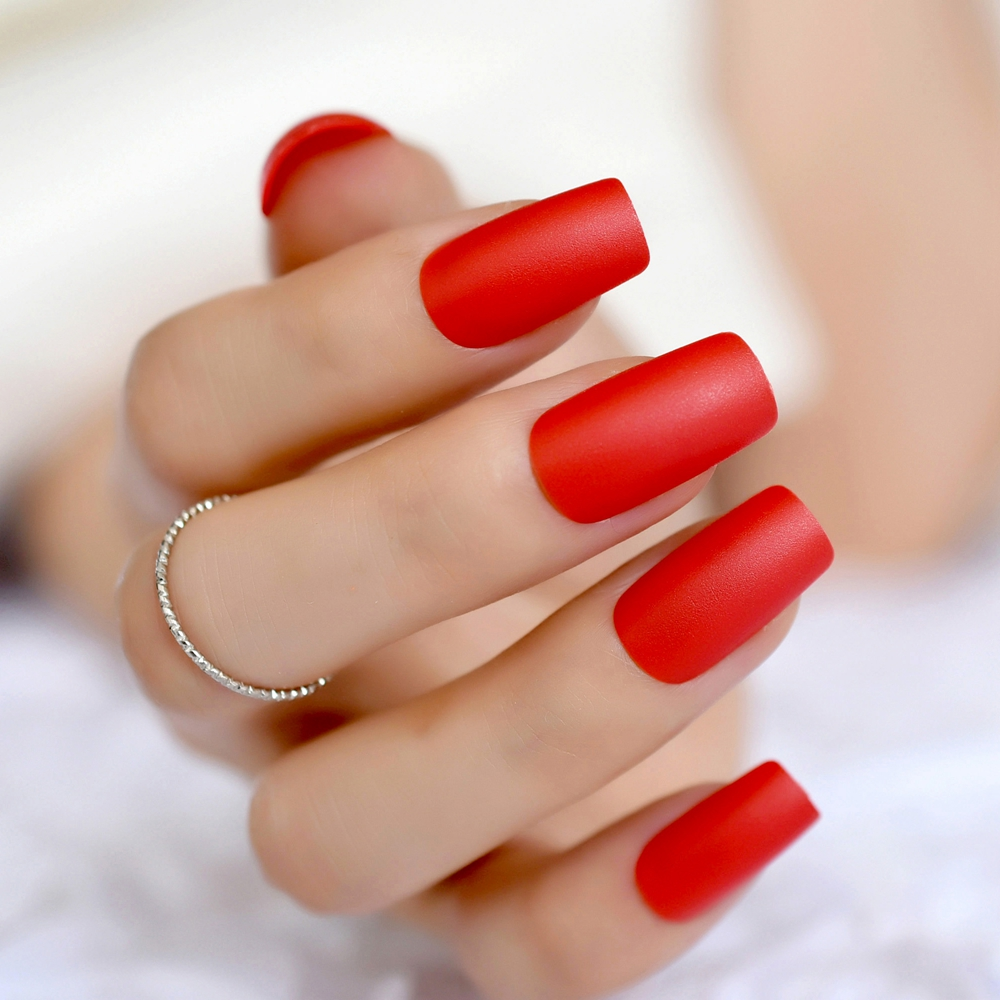 24pcs Long Red Artificial Matte Nail Tips Square False Kit Easy Diy For Lady Manicure Salon Product 267m In Nails From Beauty Health On