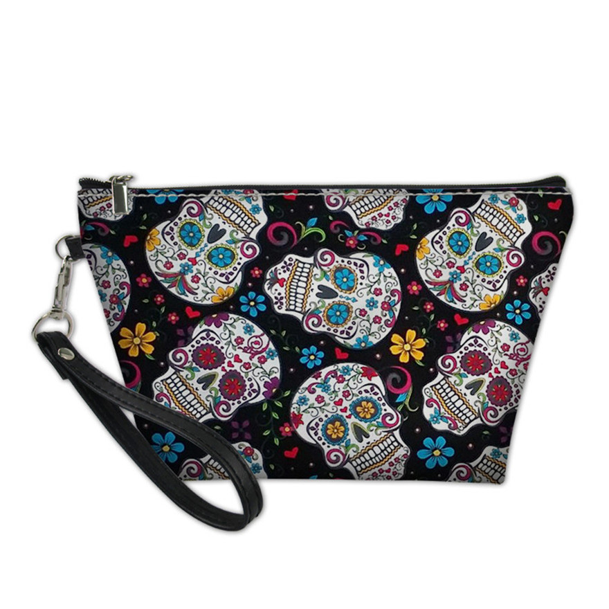 NOISYDESIGNS Make Up Bags For Women Sugar Skull Printing Cosmetic Cases Ladies Large Capacity Makeup Pouch Females Toiletry Bag