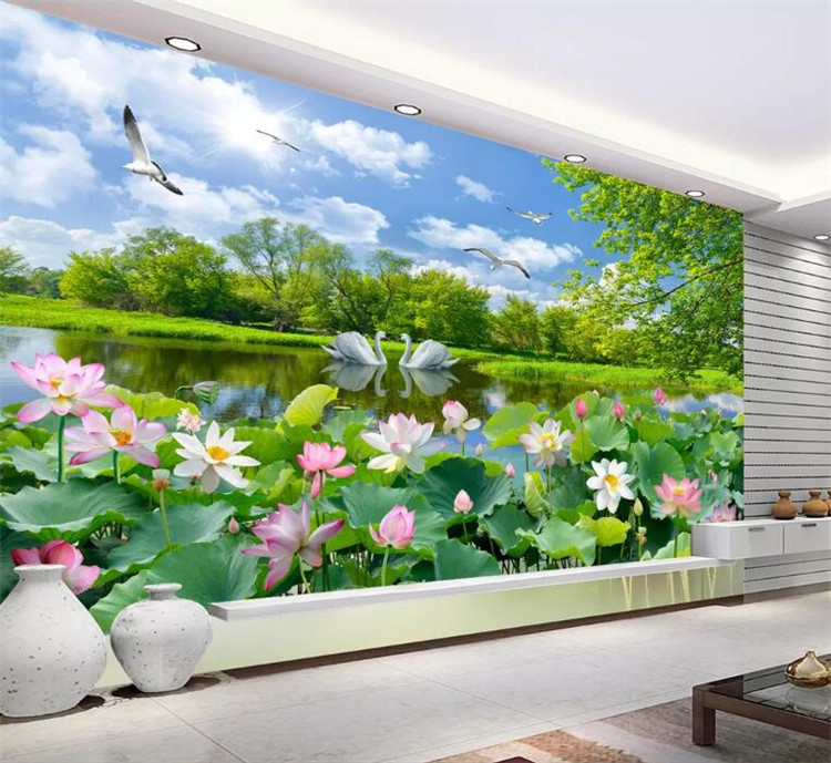 Chinese Style Photo Wallpaper 3D Swan Lake Lotus Pond Mural Living Room TV Sofa Background Wall Painting Papel De Parede 3D Sala Обои