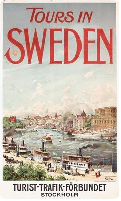 Vintage Skansen Sweden Tourism Poster Print A3//A4