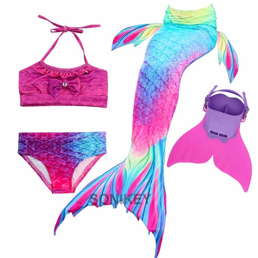 4 adet/takım için denizkızı kuyrukları yüzme kızlar Monofin kostümleri çocuk çocuklar kuyruk Mermaid cadılar bayramı Cosplay mayo bikini seti