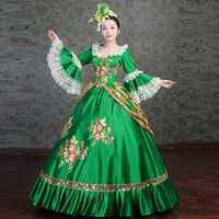 Free Shipping Flower Print Gold Lace Dress Victorian Ball Gown Theater Dress