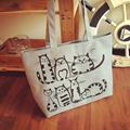 RU&BR  Hot Selling Cute Cat Printing Tote Female Canvas Handbags Large Capacity Casual Shoulder Bag Women Beach Bag Shopping Bag