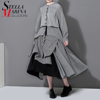2017 Korean Style Summer Autumn Women Checkered Dress Full Sleeve Mandarin Collar Mid Calf Length Casual