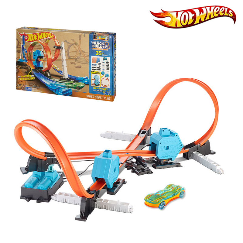 Hot Wheels Sport Cars 4 Style Track In 1 Children Toy Track Builder Power Booster Kit Carro de brinquedo DGD30 Good Gift for boy electronic hot wheels track exclusive figure 8 raceway with 6 cars motorized 3 track layouts educational truck toy for boy x2586