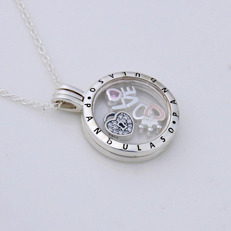 Pandulaso Forever love Petites Flottant Médaillon Collier et Pendentif pour les femmes DIY collier 925 bijoux en argent sterling chaîne