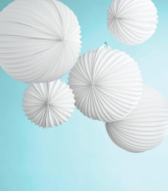 Amazing 5pc (19cm,32cm) White Accordion Paper Lanterns Pleated Paper Lanterns  Crafts Paper Lanterns Design