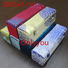 Luxury Rectangular Vintage Wood Jewelry Packaging Box Crafts Storage Boxes Decoration Chinese Silk Fabric Collection