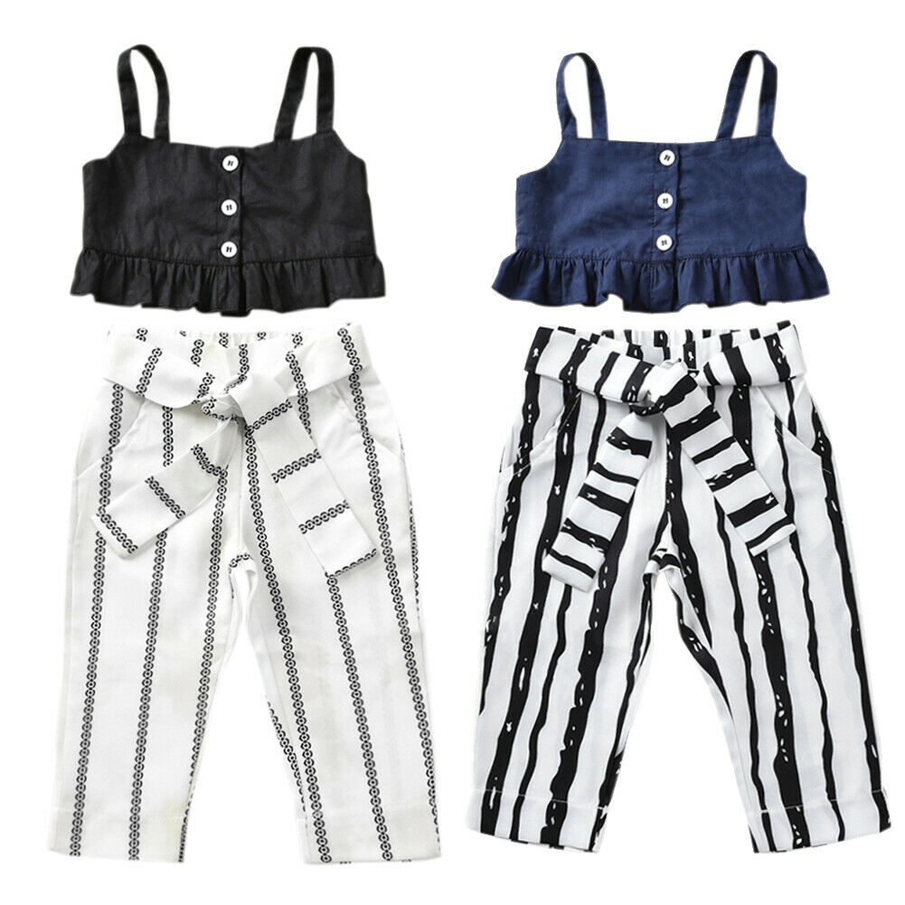 US Toddler Kids Baby Girls Sling Sleeveless Tops Jeans Pants Sunsuit Outfit Sets