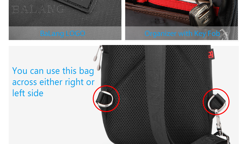 Balang Brand 2019 Men's Casual Crossbody Bag Women's Sling Bag Chest Pack Waterproof Oxford Shoulder Bags DayPack Male