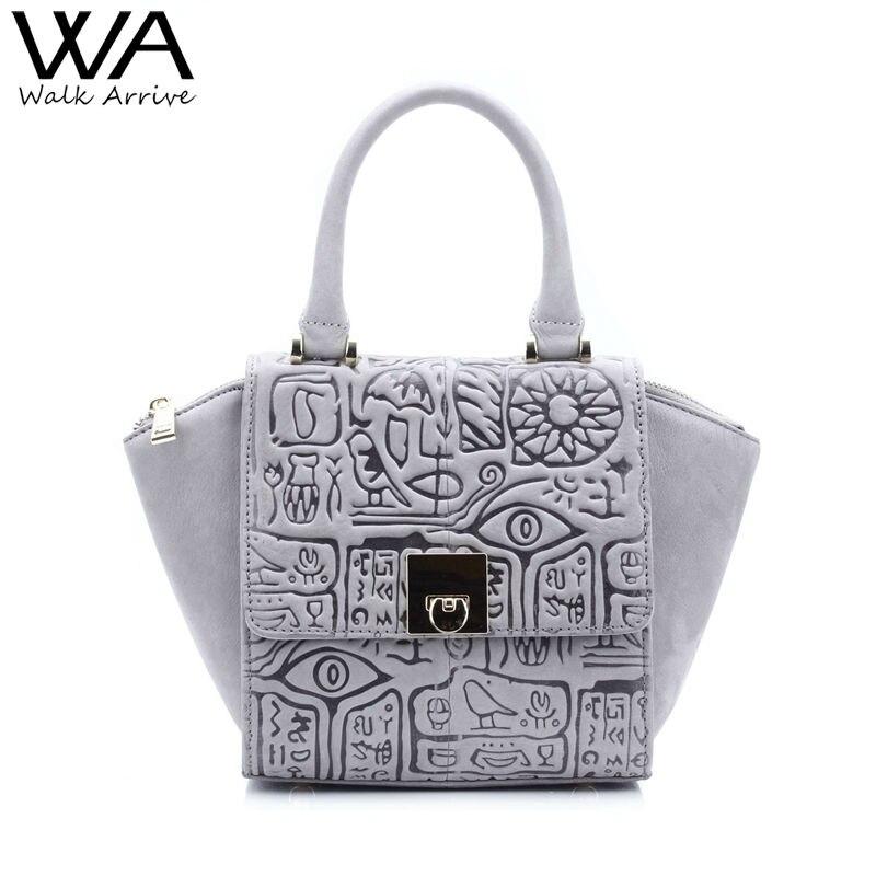 ФОТО Walk Arrive Genuine Leather Women Handbag Shoulder Bag Brand Design Oracle Embossed Leather Tote Bag Fashion Purse