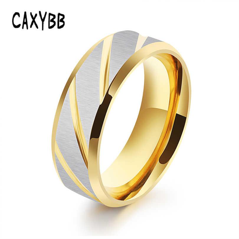 Caxybb Azul Legal Único Listra do Ouro de Aço Inoxidável Anel para Homens Meninos Da Junta De Metal Anel de Dedo Na Moda Presentes Da Jóia Da Forma