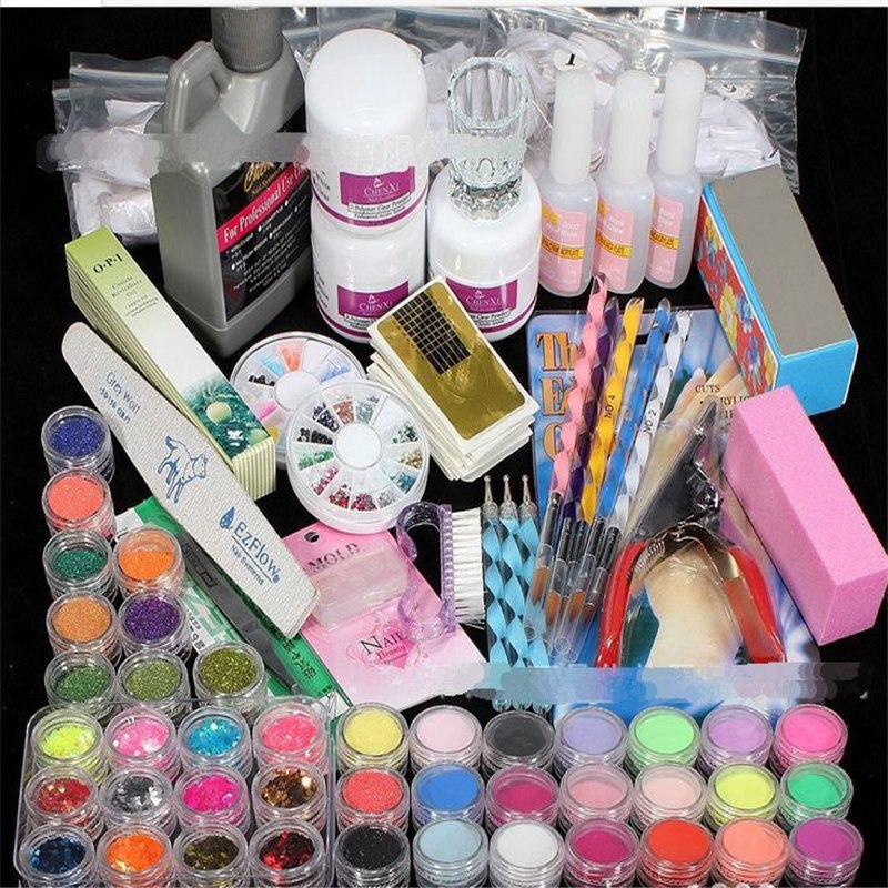 42 Color UV Gel Nail Art Manicure Set Tools Crystals Liquid Monomer Nails Decor Polish Sanding Glitter Powder Dotting Accessorie