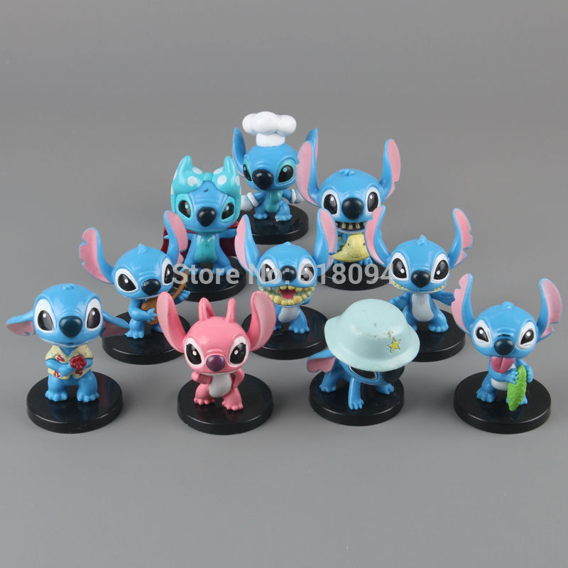 Free Shipping Anime Cartoon Lilo & Stitch Mini PVC Action Figure Toys Dolls Child Toys Gifts 10pcs/set DSFG132