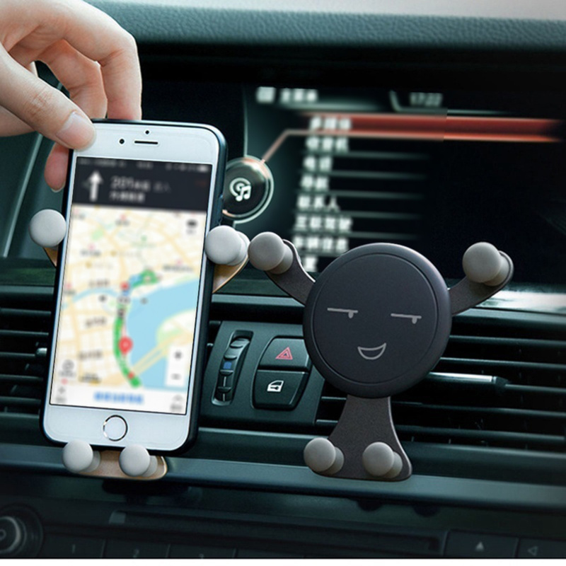 1X  Sly Smile/panda Gravity Sensing Bracket For Phone Navigation GPS Car Air Outlet Phone Holder Clip Interior Auto Products